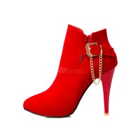 Red Ankle Boots Women's High Heel Pointed Toe Stiletto Booties With Metal Detail 10690706936 JENBRNV Women Boots