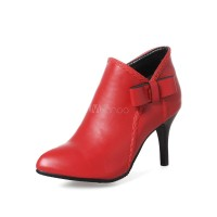 Red Short Booties High Heel Booties Pointed Toe Bow Women Shoes 10690752062 UNHTBVS Women Boots