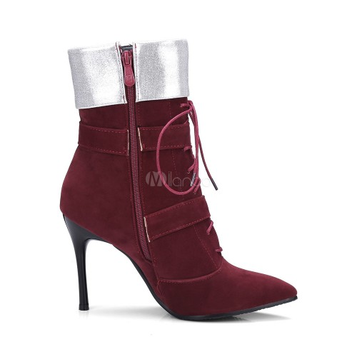 73f3be0e67e Red Suede Booties Women's Pointed Toe Lace Up Buckle Detail High ...