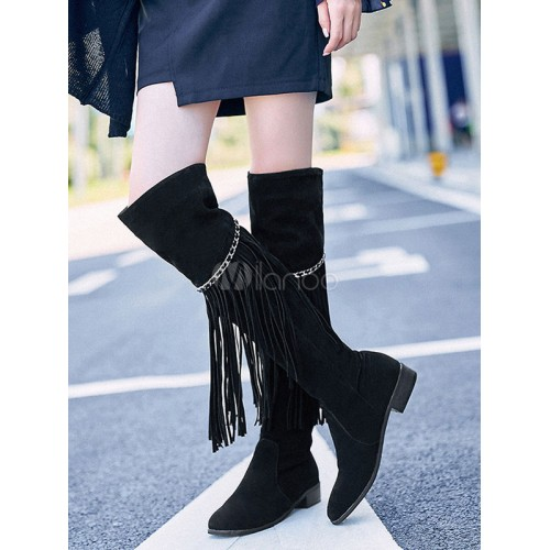 Thigh High Boots Black Suede Round Toe Women Over Knee Boots With Tassels 10710737222 XJVDGZV Women Boots