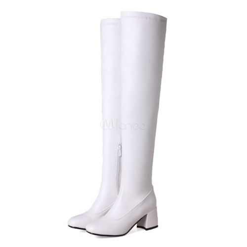 White Over Knee Boots Round Toe Mid Heel Slip On Boots Women Thigh High Boots 10720751400 ZSGEFQU Women Boots