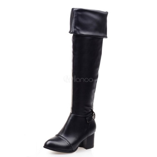 White Over Knee Boots Women Shoes Round Toe PU Slip On Thigh High Boots 10720745712 JYSRCQG Women Boots