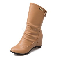 Women Ankle Boots Apricot Wedge Boots Round Toe Slip On Booties 10690740544 QPHARNA Women Boots