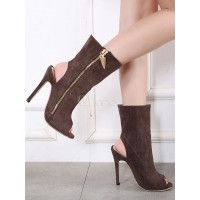 Women Ankle Boots Brown Suede Booties Peep Toe Zipper Detail Slingbacks Sandal Booties 96070748954 SNYBUBL Women Boots