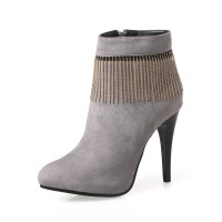 Women Ankle Boots Grey Suede Boots Pointed Toe High Heel Booties With Tassels 10690751404 ZEXZISH Women Boots