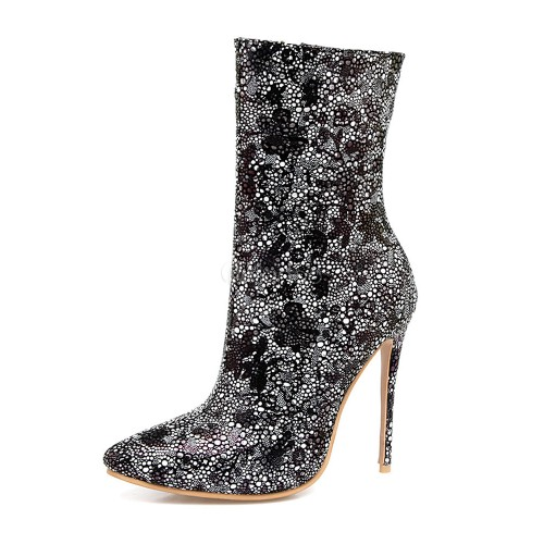 Women Ankle Boots High Heel Boots Silver Pointed Toe Rhinestones Spring Shoes 10690740790 DNBFHTD Women Boots