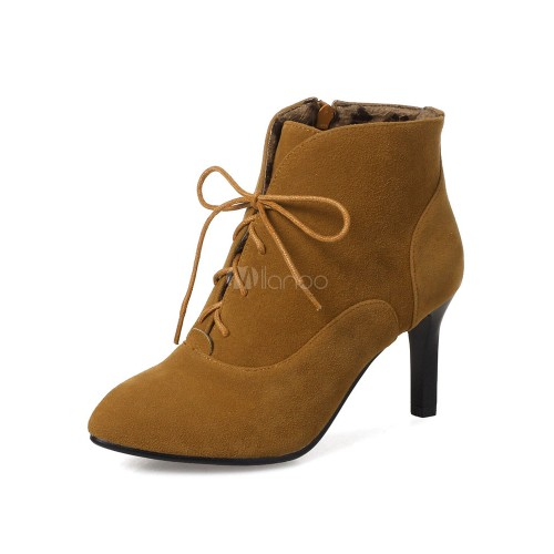Women Ankle Boots Lace Up Booties Brown Pointed Toe Mid Heel Booties 10690748786 QBDBQRU Women Boots