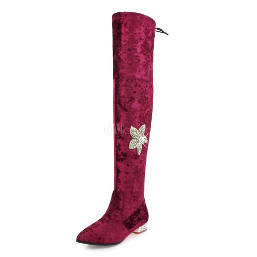 Women Boots Winter Pointed Toe Zipper Floral Rhinestones Corduroy Burgundy Thigh High Boots 10720734356 UMVBHCX Women Boots