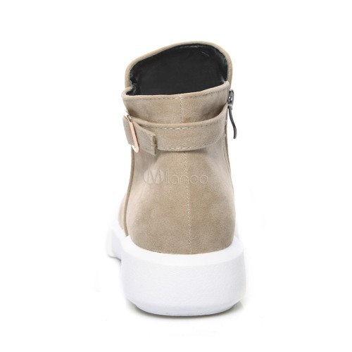 Women Suede Boots Round Toe Buckle Detail Ankle Boots Flat Booties 10690745920 KVRHTGW Women Boots