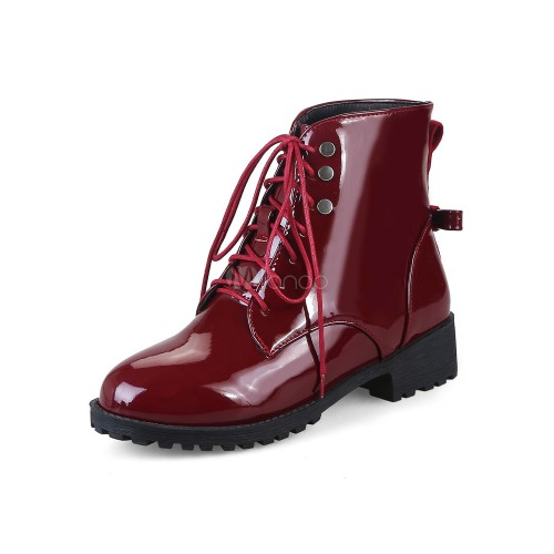 Women's Ankle Boots Burgundy Round Toe Lace Up Patent PU Flat Winter Boots 10690730532 NUKFWIF Women Boots