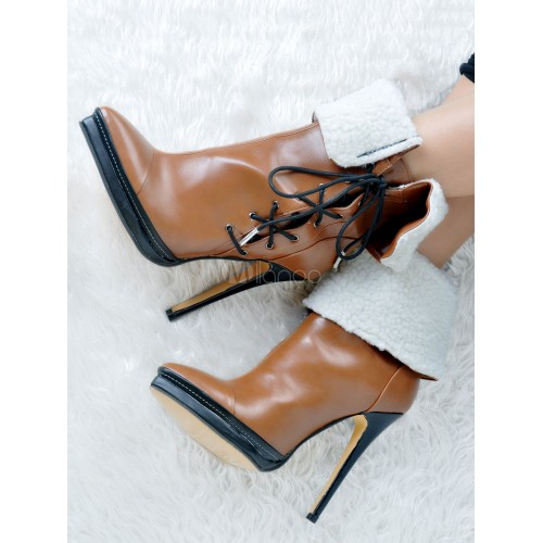 Women's Ankle Boots Pointed Toe High Heel Stiletto Lace Up Two Tone Brown PU Winter Booties 10690729082 WZJPFZY Women Boots