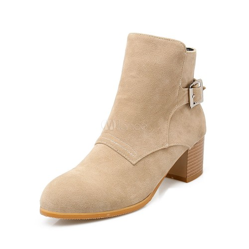 Women's Ankle Boots Suede Round Toe Buckle Detail Zip Up Booties 10690710752 KYIZUSO Women Boots