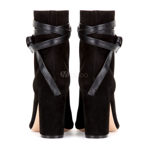 Women's Black Boots Peep Toe Chunky Heel Lace Up Suede Booties 10690707440 LBJBMAD Women Boots