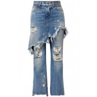 R13   Double Classic distressed mid-rise straight-leg jeans   NET-A-PORTER.COM - Women Jeans R13 1005600 CBXHJER